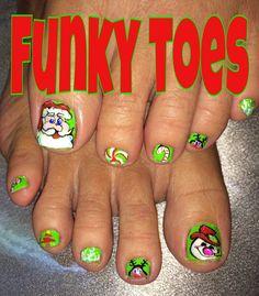#nailart #christmas #santa #frosty #nailart #funkytoes Pretty Toe Nails, Pretty Toes, Cute Nails, Pedicure Designs, Toe Nail Designs, Finger Nail Art, Toe Nail Art, Holiday Nail Art, Christmas Nail Art