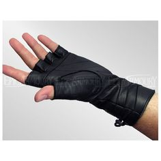 Black Leather Laced Gloves
