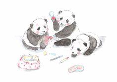 Weekend makeup :) #pandas #animals #pets #vianneart #watercolor #party #weekend #makeup #cosmetics #lipstick #blush #animalillustration