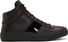 Jimmy Choo: Black Grained Leather Belgravi High-Top Sneakers | SSENSE