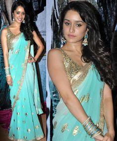 sho pretty: @Shraddha Balasubramaniam Balasubramaniam Kapoor in turquoise & gold #Saree, w/ Jhumka  & Bangles