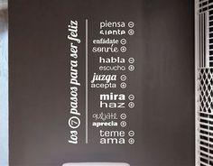 #Vinilos de Pared sobre #Frases y #Citas Curiosas Los siete paso para ser feliz 03120