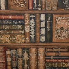 Boutique Vintage Medieval Book Case Wallpaper Traditional Library Brown Metallic