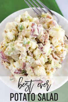 The BEST EVER Potato Salad recipe, with a special secret ingredient in the dressing! It will convert any potato salad hater to a potato salad lover! #browneyedbaker #potatosalad #bacon #potatoes