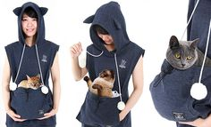 Cat Hoodie With Kangaroo Pouch Lets You Take Your Cat Wherever You Go (Summer Edition)
