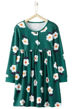 Toddler Girls Green Flared Floral Day Dress