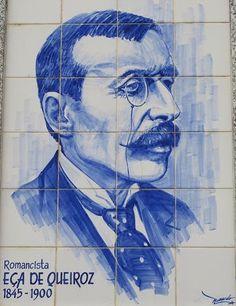 """A 25 de Novembro de 1845, nasce na Póvoa de Varzim, o escritor e diplomata português José Maria Eça de Queiroz (1845-1900), autor entre muitas outras obras, de  """"Os Maias"""" e """"A Ilustre Casa de Ramires"""".  EÇA DE QUEIROZ - Painel de azulejos de Fernando da Silva Gonçalves, Póvoa de Varzim."""