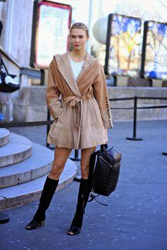 camel coverup. #KarlieKloss #offduty in Paris.