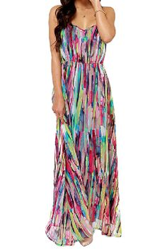 Street style   Spring maxi dress, clutch Strapped Colorful Painting Print Maxi Dress