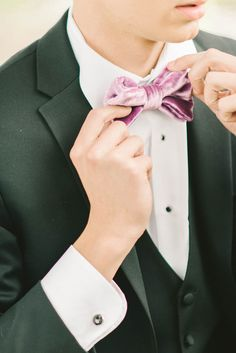 Purple velvet bow tie by Boutagh. | photography by http://elizabethfogartyphotography.com/