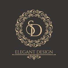 Illustration of Monogram from intertwining letters SD in elegant flower frame. B… - Design Wedding Logo Design, Luxury Logo Design, Wedding Logos, Web Design, Name Logo, Rotulação Vintage, Sd Logo, Jewelry Logo, Boutique Logo