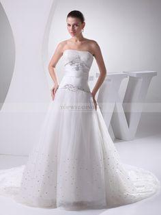 Maddelena - trapezio lisci scollo abito da sposa in raso con perline