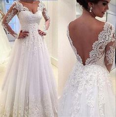 Real Image Long Sleeve Lace Wedding Dresses 2015 White Illusion Sheer Applique V-Neck Sheer A-line Chapel Train Bridal Dresses Ball Gowns Online with ...