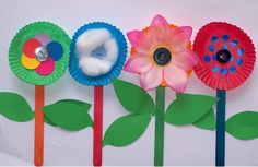 popsicle sticks, cupcake liners, and various decorating items makes a cute springtime craft