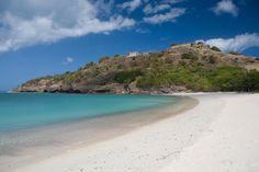 White sandy beach close by Capri luxury villa in Antigua, Caribbean