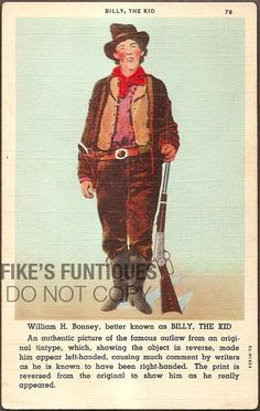 Billy the Kid Vintage Linen Postcard  William H Bonney