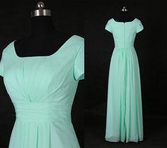 Vintage Mint Square Neck Long Prom Dress/Short Sleeves Long Bridesmaid Dress/Wedding Party Dress/Mint Bridesmaid Dresses/Simple Dress WDD066