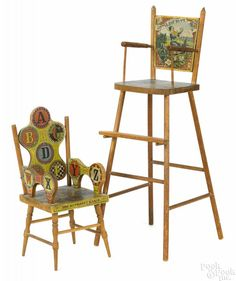 W. S. Reed paper lithograph doll's high chair with nursery rhyme images of Little Boy Blue - Price Estimate: $150 - $250