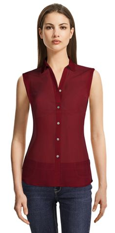 Blouse made to fit your unique measurements! Made to measure women clothes at Sumissura Red Blouses, Blouses For Women, Design Your Shirt, Party Jackets, Custom Made Clothing, Business Casual Dresses, Business Shirts, Collar Styles, Suits For Women