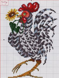 Cross-stitch Rooster... no color chart available, just use pattern chart as your color guide.. or choose your own colors...