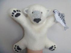 Ручная работа Белый медведь. Перчаточная кукла. Бибабо.Bibabo.