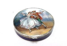Stunning-Antique-French-Sterling-Silver-Enameled-Compact-Round-Box