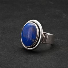 Lapis Lazuli Ring Blue Gemstone Sterling Silver by SunSanJewelry Oval Rings, Blue Rings, Lapis Lazuli Jewelry, Blue Gemstones, Fine Jewelry, Unique Jewelry, Statement Rings, Sterling Silver Rings, Gemstone Rings