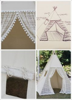 Pocahontas teepee, kids teepee with ruffled lace and pompom trim, kids play tents, girls lace Tipi Pocahontas ruffle lace teepee tent with pompom by TucsonTeepee Kids Tents, Teepee Kids, Play Tents, Teepees, Play Teepee, Tipi Diy, Diy Teepee Tent, Pow Wow Party, Indoor Tents