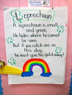 Patrick& Day Teaching Ideas for Your Classroom Poetry Anchor Chart, Anchor Charts, Flip Charts, Pocket Charts, Preschool Lessons, Preschool Activities, Preschool Rules, Preschool Curriculum, Preschool Learning