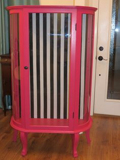 Fuschia curio cabinet with cabana stripes -- Would change color but love the cabinet