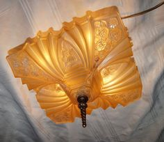 Vtg Art Deco Consolidated Glass Slip Shade Flush Chandelier Ceiling Fixture 1930 | eBay