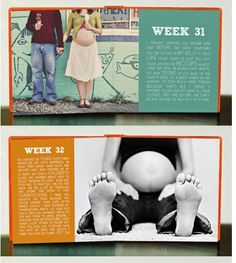 A week by week pregnancy photo book with a note from mommy.  How cute!!