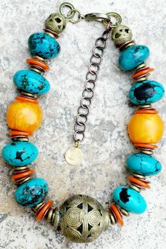 Ghana Gorgeous Turquoise Stones, Yellow Amber Resin, Orange Glass Discs, Copper, African Brass and Ornate Carved Ghanian Brass Ball Centerpiece Choker Necklace - Jewelry with soul - By Kelly Conedera XOGallery.com