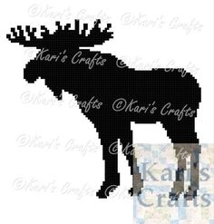 Moose Silhouette King Size C2C or Full Size Mini-C2C Afghan PDF Pattern Graph + Written Instructions - Instant Download by KarisCrafts on Etsy