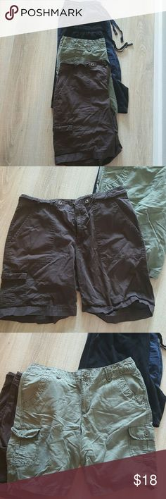 Lot of 4 pairs short all fit as size 14 Great lot of shorts. Large, Petite large and 14. All fit as 14. 2 drawstring and two button and Zipper. Very Comfy. Nice condition. Sorry about the wrinkles but just unpack summer things. Shorts