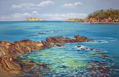 This painting by Lyn Woolridge of McKenzies Beach is one of a series of Pastel Paintings focusing on reflections and the transparency of water. See them at By the Beach Bakery Lilli Pilli. Opening Wednesday 20th May at 4.00 pm.