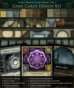 Buy Game Cards Design Kit by scareddragon on GraphicRiver. Have you dreamed about making games? Board, card or computer games? Card Game Design, Print Templates, Card Templates, Blank Playing Cards, Kit, Dragon Games, Card Games, Game Cards, Photoshop