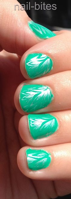 Nail Bites: First Finger Paints Polish with Stamping #nailcolour