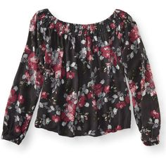 Aeropostale Cape Juby Floral Off The Shoulder Peasant Top ($17) ❤ liked on Polyvore featuring tops, blouses, grey floral, off shoulder peasant top, peasant blouse, off the shoulder peasant tops, boho peasant blouse and boho blouse