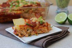 Chicken Enchilada Lasagna  #PaleOMG
