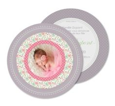 Faire-part naissance rond liberty rose Baby Shower, Invitations, Birthday, Frame, Roses, Communion, Scrap, Simple, Products