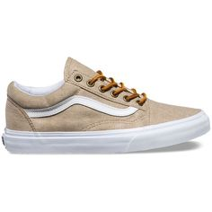 Vans Washed Canvas Old Skool ($65) ❤ liked on Polyvore featuring shoes, sneakers, tan, skate shoes, low top, low top skate shoes, tan shoes and cap toe shoes