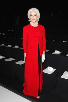 Red full length evening coat ... worn by Carmen dell'Orefice