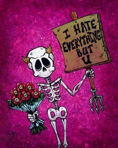 I Hate Everything But U by David Lozeau Skeleton Love Canvas Art Print Skeleton Love, Skeleton Art, I Hate Everything, Creepy, Day Of The Dead Art, Arte Obscura, My Funny Valentine, Skull Art, Retro