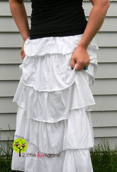See tip about how knit fabric rolls. (Keep track of right side of fabric so ruffled pieces will roll the same direction when washed.)  Maxi Skirt {Tutorial}