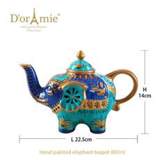 Lucky porcelain teapot with Elephant teapot, tea pot Elephant Teapot, Tea Pots, Porcelain, Hand Painted, Gift Ideas, 3d, Tableware, Gifts, Stuff To Buy