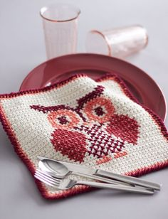 Yarnspirations.com - Lily Owl Cross Stitch Dishcloth - Patterns  | Yarnspirations