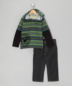 Take a look at this Blue Stripe Layered Hoodie & Jeans - Infant & Toddler by Calvin Klein Jeans on #zulily today!