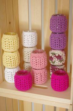 crochet votive candles using babyfood jars