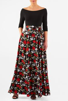 A vintage silhouette goes modern with our mixed media maxi dress, styled with a wide boat-neck cotton knit bodice and a full flare floral print crepe skirt for feminine movement.